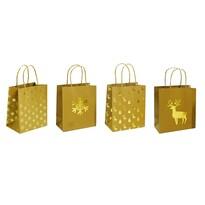 Karácsonyi ajándéktáska szett, 4 db-os, arany, 24 x 31 x 12 cm