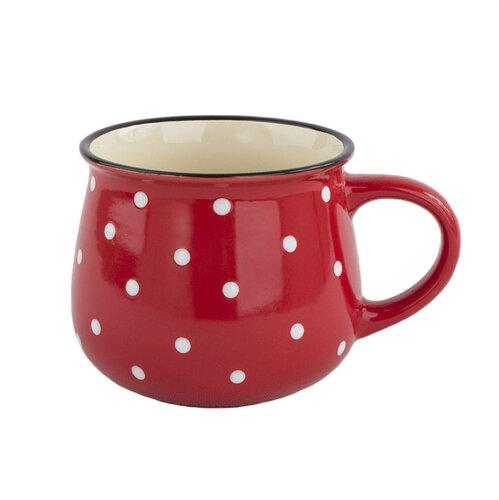 Keramický hrnček Dots 770 ml, červená