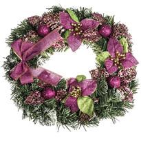 Karácsonyi koszorú mikulásvirággal, átmérő 30 cm, rózsaszín