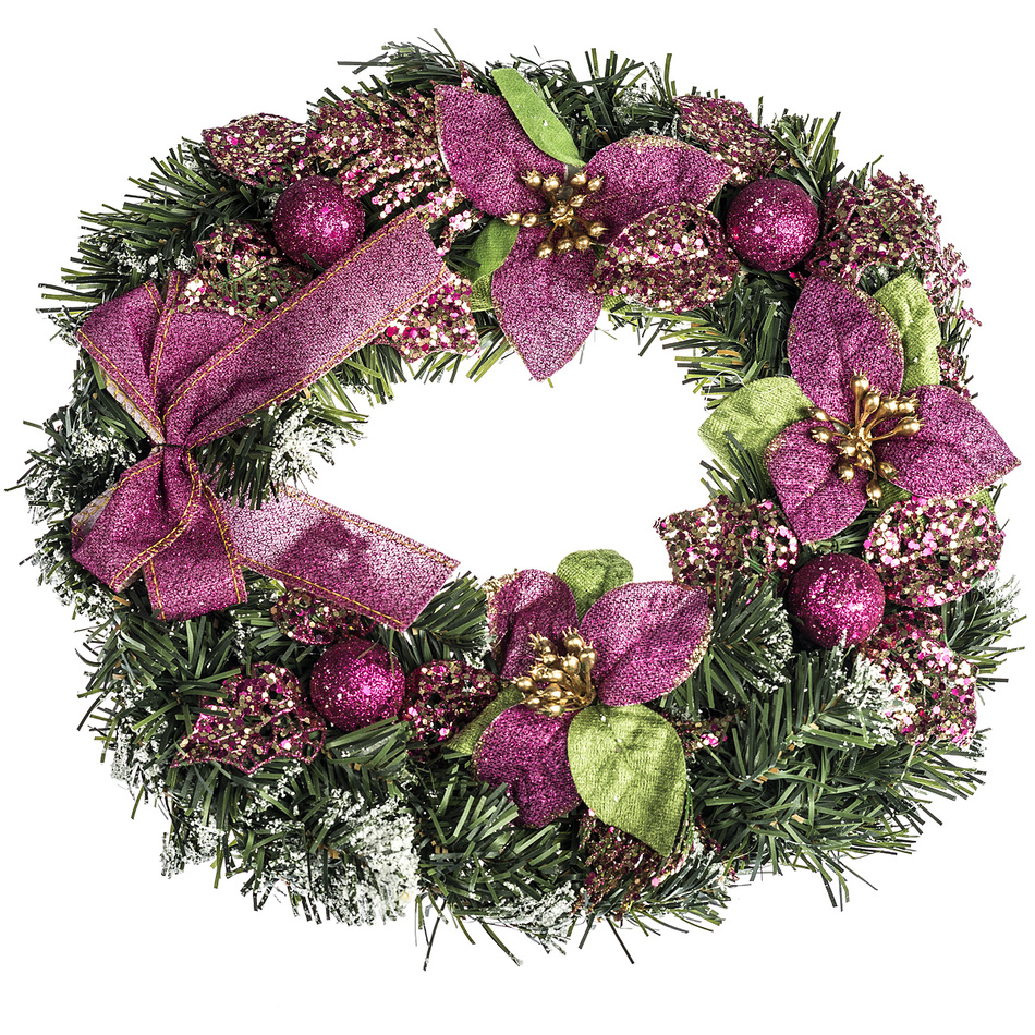 HTH Zdobený vánoční věnec pr. 30 cm růžová