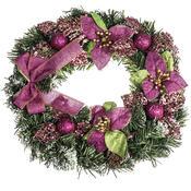 Vánoční věnec s poinsetií pr. 30 cm, růžová