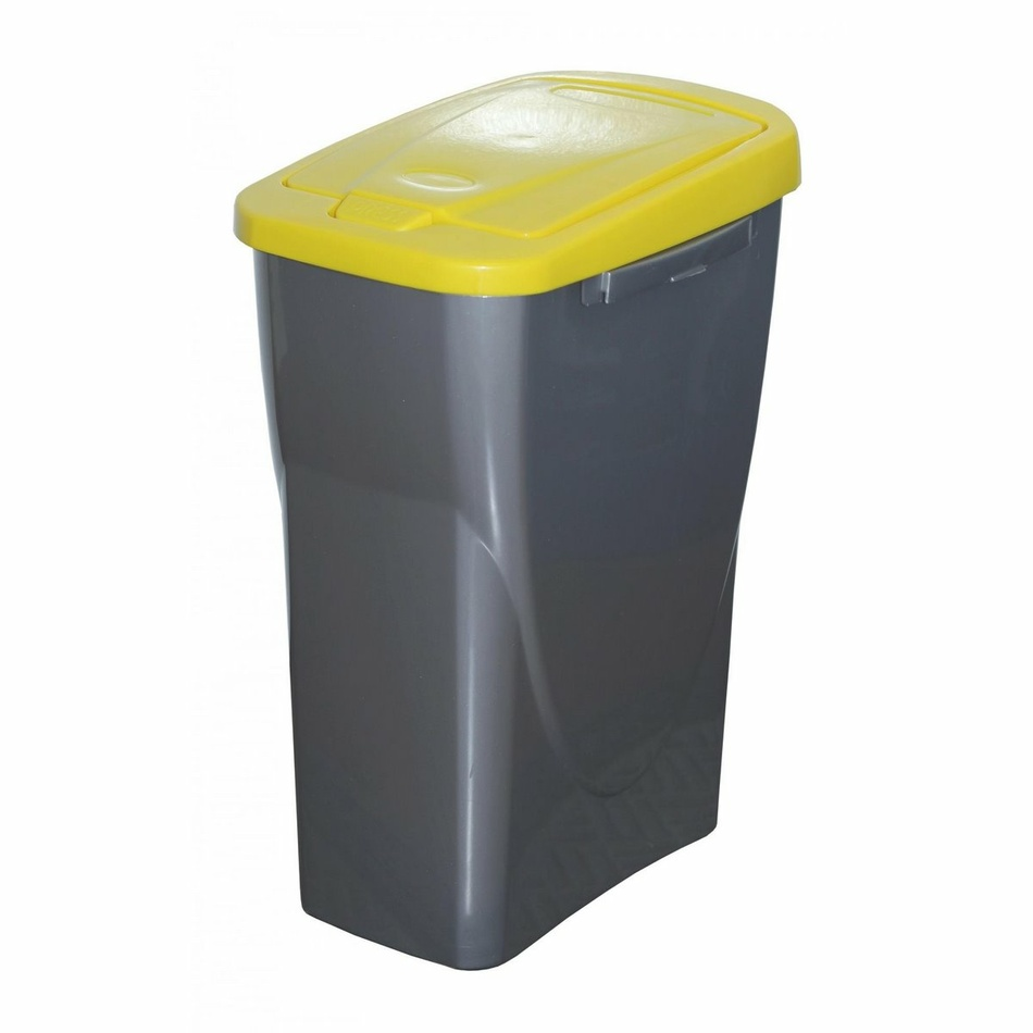 Koš na tříděný odpad žluté víko; 51 x 21,5 x 36 cm; 25 l; plast