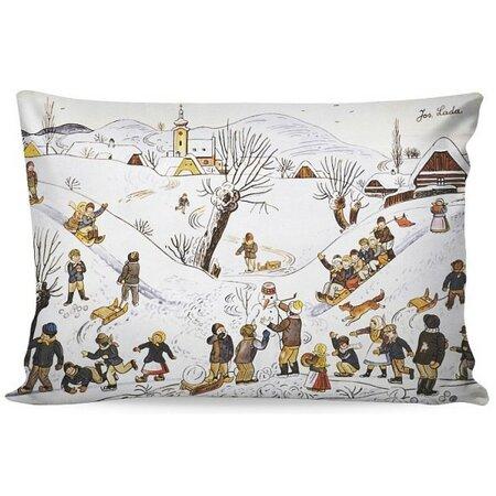 Matějovský Povlak na polštářek Deluxe Josef Lada Dětské hry v zimě, 33 x 50 cm