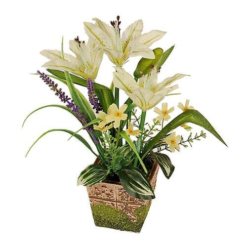 Aranžmá Lilie v květináči v. 28 cm, bílá