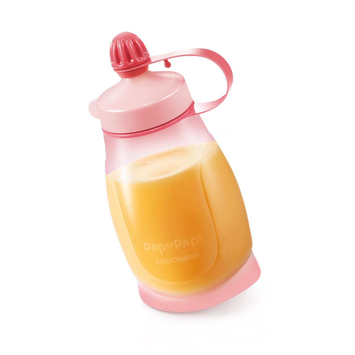 TESCOMA pružná láhev PAPU PAPI 200 ml, se lžičkou, růžová