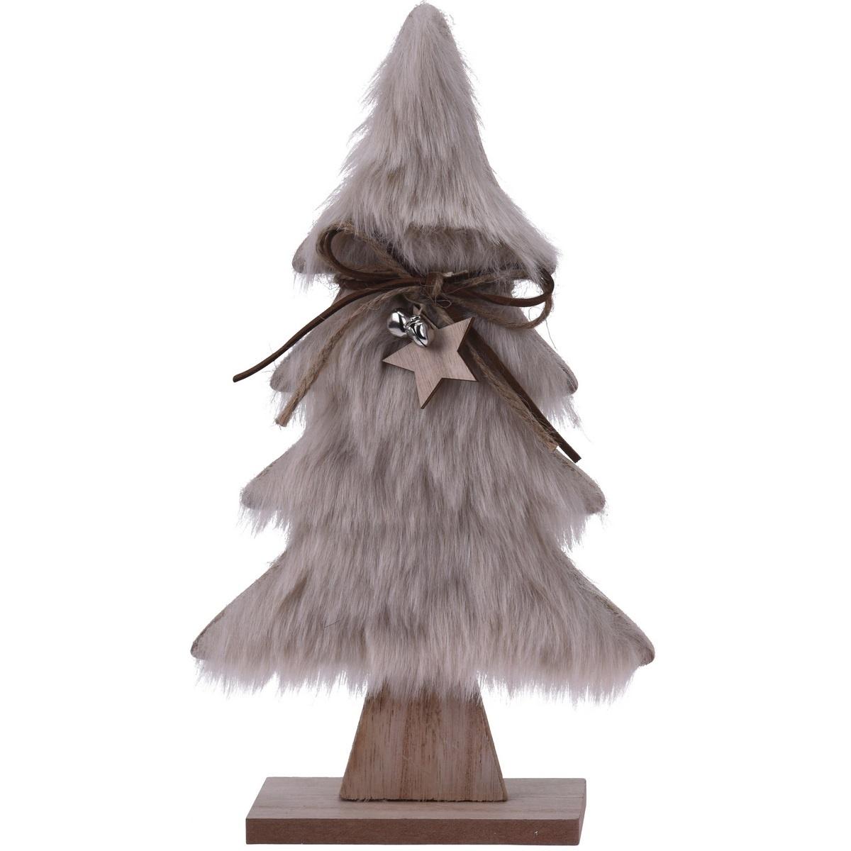Vánoční dekorace Hairy tree světle hnědá, 28 cm