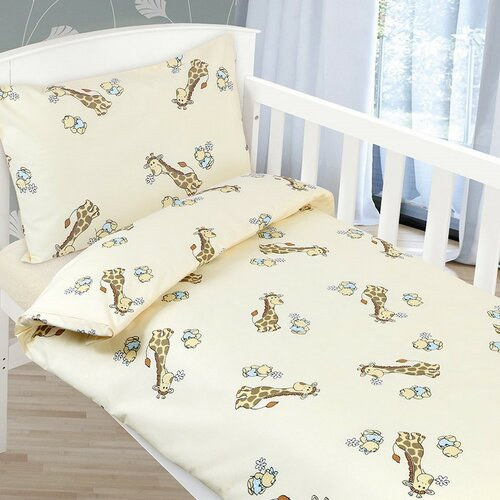 Bellatex Povlečení dětské AGÁTA Béžová žirafa, 90 x 135 cm, 45 x 60 cm