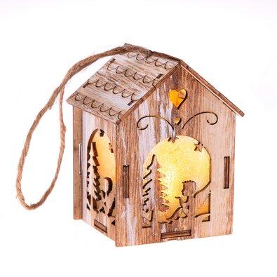 Závesný drevený domček s LED svetlom Anjel, 5 x 8,2 cm