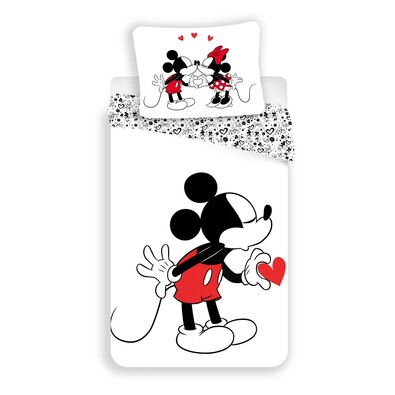 Bavlněné povlečení Mickey hearts 2016, 140 x 200 cm, 70 x 90 cm