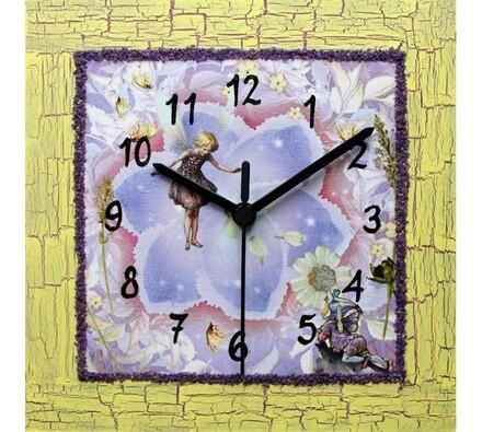 Dekorativní nástěnné hodiny Květinová holčička