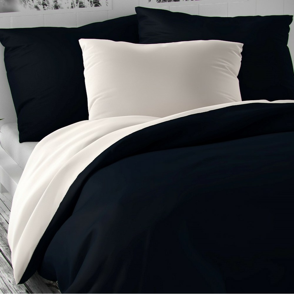 Kvalitex Saténové obliečky Luxury Collection biela/tmavomodrá, 140 x 220 cm, 70 x 90 cm