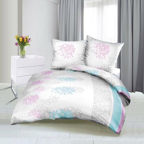 Bellatex Saténové obliečky Jar modro-ružová, 140 x 200 cm, 70 x 90 cm