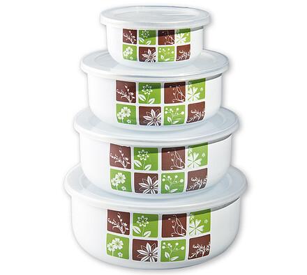 Smaltované misky na potraviny Belly-DOMINO, 4 ks s, bílá
