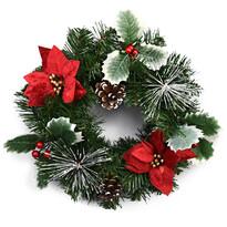 Wieniec bożonarodzeniowy z poinsecją Rojo czerwony, 30 cm