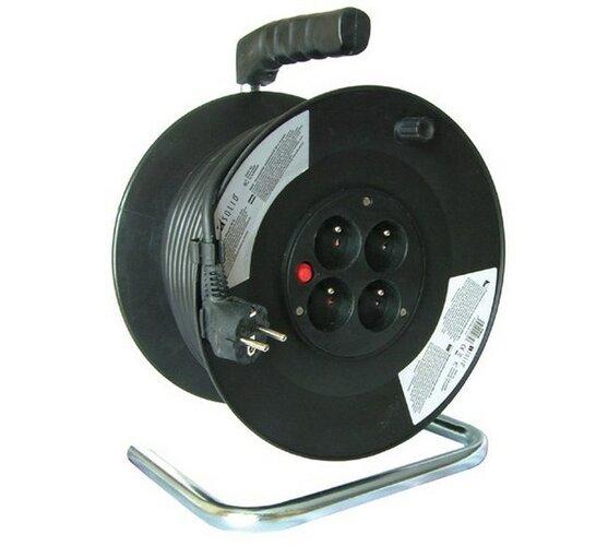 Prodlužovací kabel na bubnu Solight, 4 zásuvky, černý, 25 m