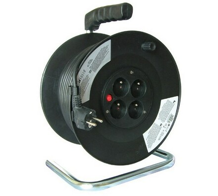 Solight Prodlužovací kabel na bubnu 4 zásuvky délka 25 m černý