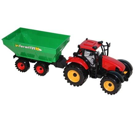 Traktor s přívěsem, červená