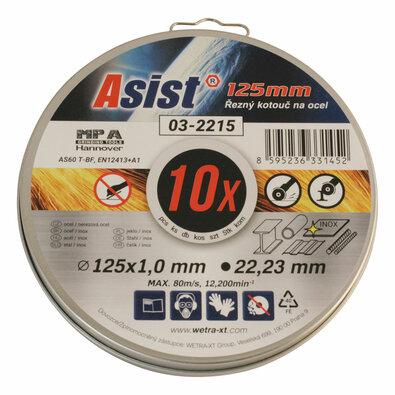 Asist 03-2215 sada rezných kotúčov oceľ/INOX, 10 ks, 125 x 1 mm