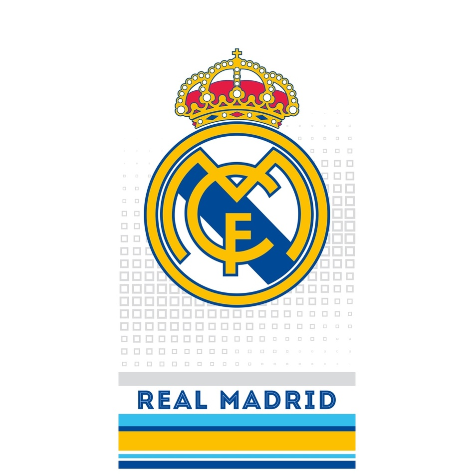 TipTrade Osuška Real Madrid Cubes Grey, 70 x 140 cm