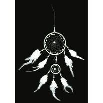 Lapač snů z peří 11 cm, bílá