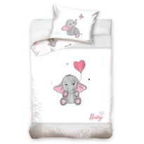 Elefánt gyermek pamut ágynemű kiságyba szürke, 100 x 135 cm, 40 x 60 cm