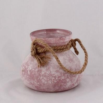 Skleněná váza s provázkem, růžová