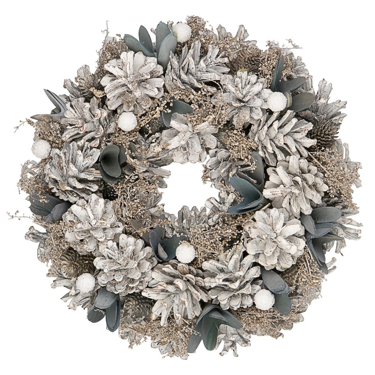Altom Vánoční věnec Luxury 25 cm, bílá