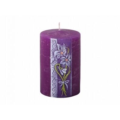 Vyřezávaná svíčka Fialka, válec