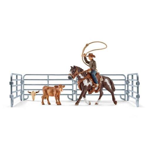Schleich Kovboj s lasem na koni a příslušenství
