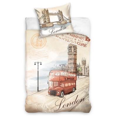 Pościel bawełniana London Bus, 160 x 200 cm, 70 x 80 cm