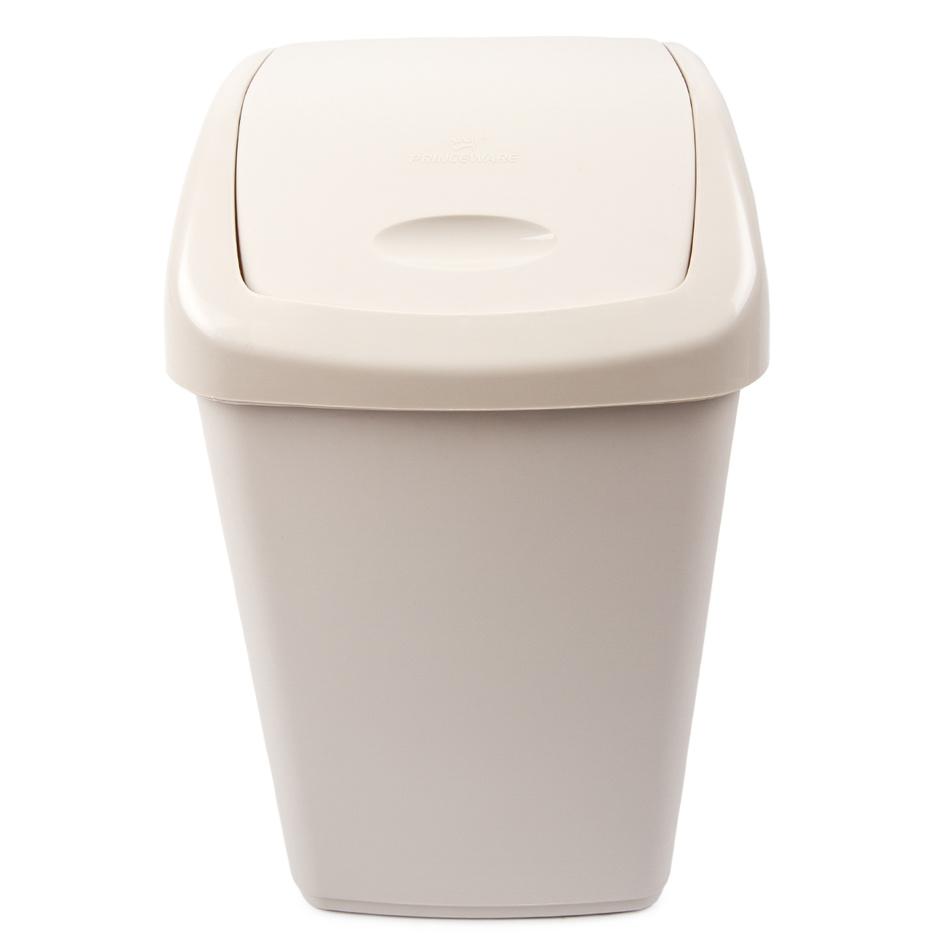 Odpadkový plastový výklopný koš 15 l, krémová