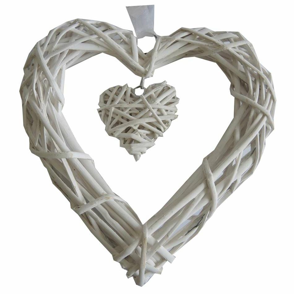 StarDeco Závěsná dekorace Proutěné srdce bílá, 25 cm