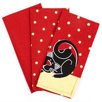 Cica konyharuha, piros, 50 x 70 cm, 3 db-os szett