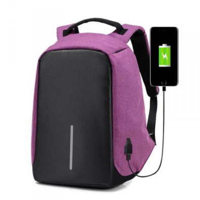 Bezpečnostní batoh s USB nabíječkou, fialová