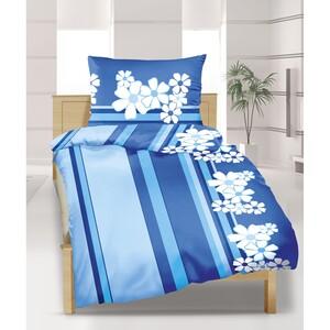 Krepové povlečení Modrý květ, 240 x 200 cm, 2 ks 70 x 90 cm