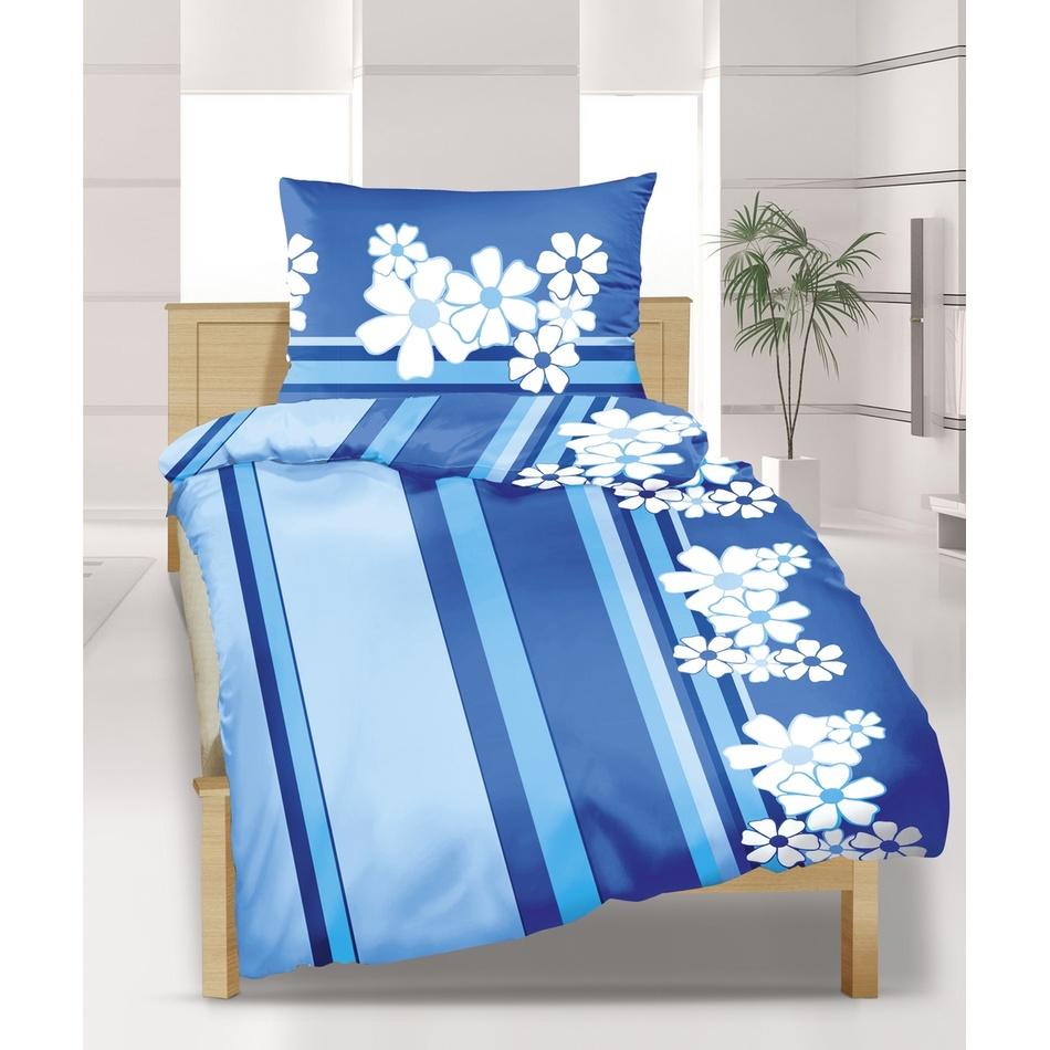Bellatex Krepové povlečení Modrý květ, 240 x 200 cm, 2 ks 70 x 90 cm