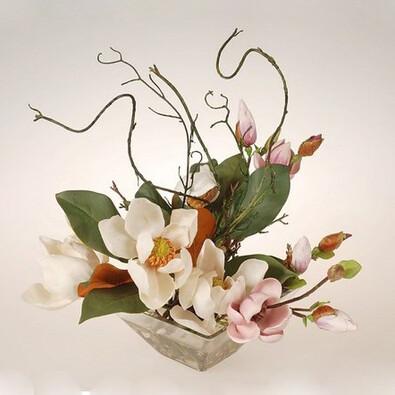 Aranžma magnolie v míse, bílá