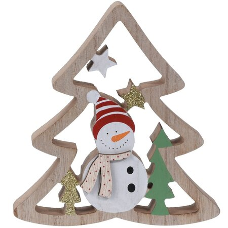 Koopman Vánoční dekorace Snowman's tree, 17 cm