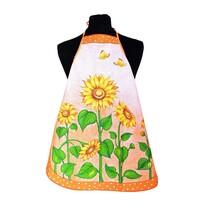 Fartuch i rękawica kuchenna Słoneczniki pomarańczowy, 60 x 75 cm, 18 x 28 cm