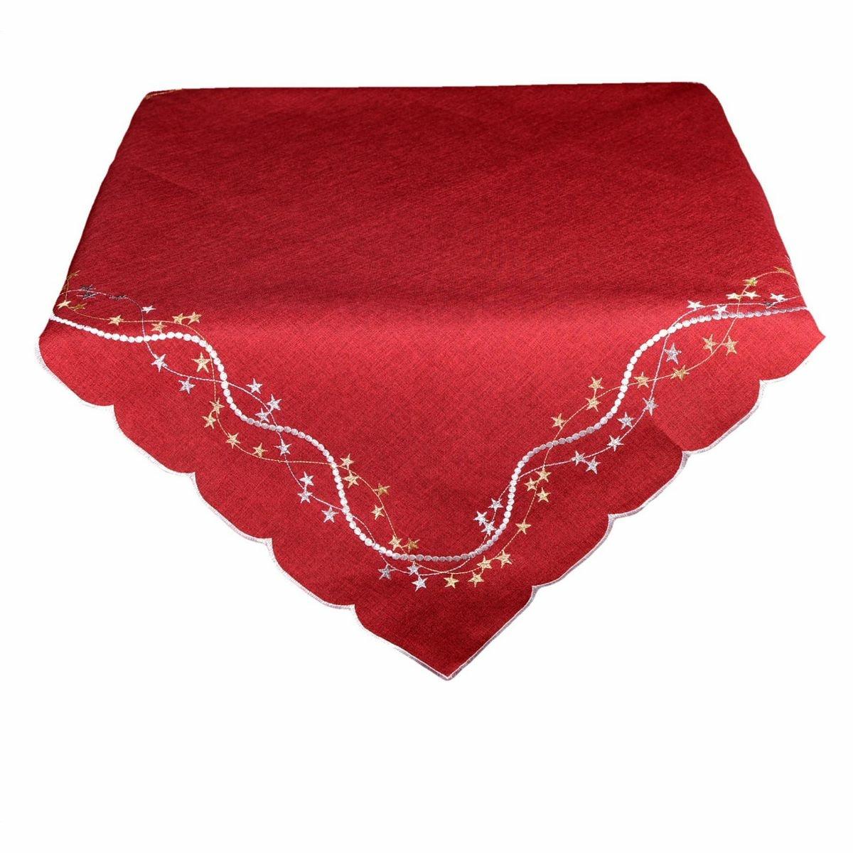 BO-MA Trading Vánoční ubrus Hvězdičky červená, 120 x 140 cm