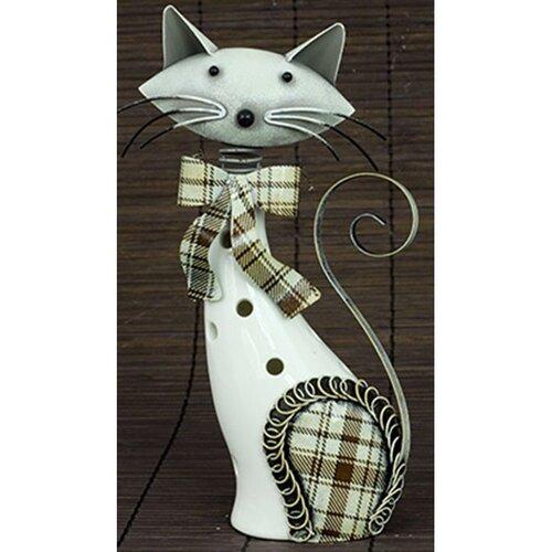 Porcelánová dekorace Kočka bílá, 21 cm