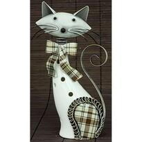 Porcelánová dekorácia Mačka biela, 21 cm