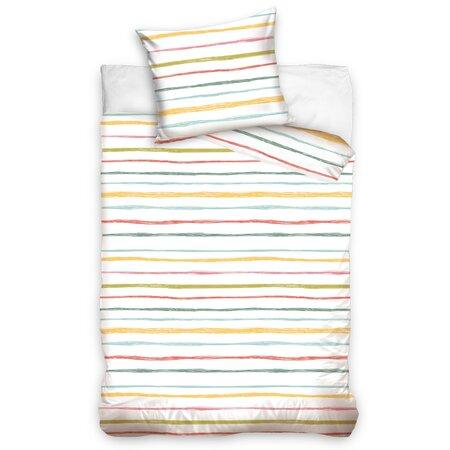 Lenjerie bumbac Multicolor Stripes, 140 x 200 cm, 70 x 90 cm