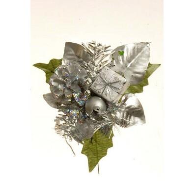 Umělá dekorace šiška, v. 17 cm, stříbrná, sada 3 k, stříbrná