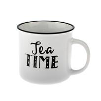 Keramický hrnček Tea time 430 ml, biela