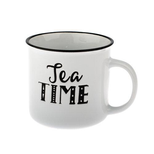 Keramický hrnek Tea time 430 ml, bílá