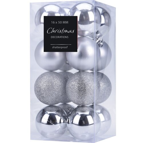 Sada vánočních ozdob Agira 16 ks, stříbrná, pr. 5 cm