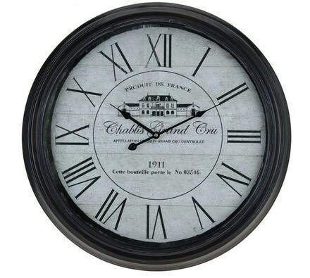 Kovové nástěnné hodiny s francouzským designem Gra, černá, 65 x 63 x 75 cm
