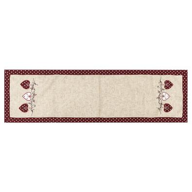 Faţă de masă d Inimă bulină, roşu, 40 x 140 cm
