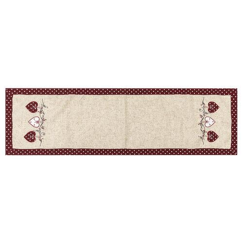Běhoun Srdíčka puntík červená, 40 x 140 cm